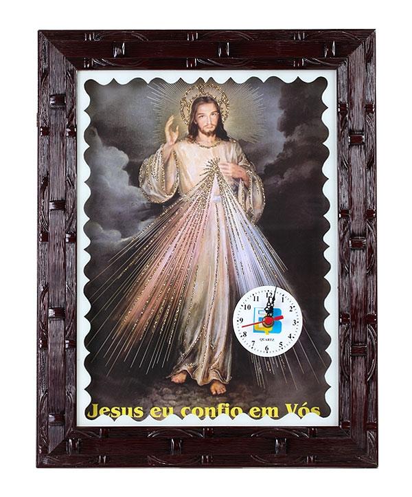 QUADRO 30X40CM JESUS MISERICORDIOSO COM RELÓGIO