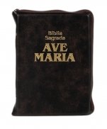 BÍBLIA AVE MARIA COURO ZÍPER MARROM MÉDIA
