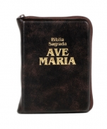 BÍBLIA COURO ZIPER MARROM BOLSO