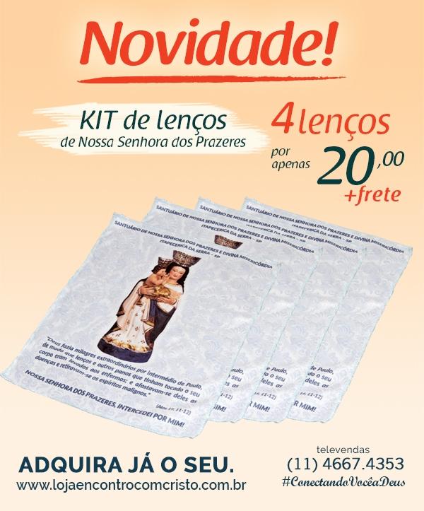 KIT LENÇO NOSSA SENHORA DOS PRAZERES COM ORAÇÃO