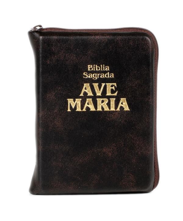 BÍBLIA AVE MARIA COURO ZIPER MARROM BOLSO