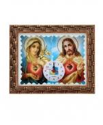 QUADRO 20X25CM SAGRADO CORAÇÃO DE JESUS E MARIA COM RELÓGIO