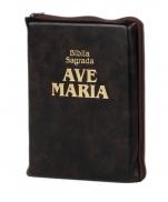imagem do produto - BÍBLIA AVE MARIA COURO ZÍPER MARROM MÉDIA